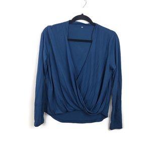 SHEIN Blue Twisted Long Sleeve Top Sz M